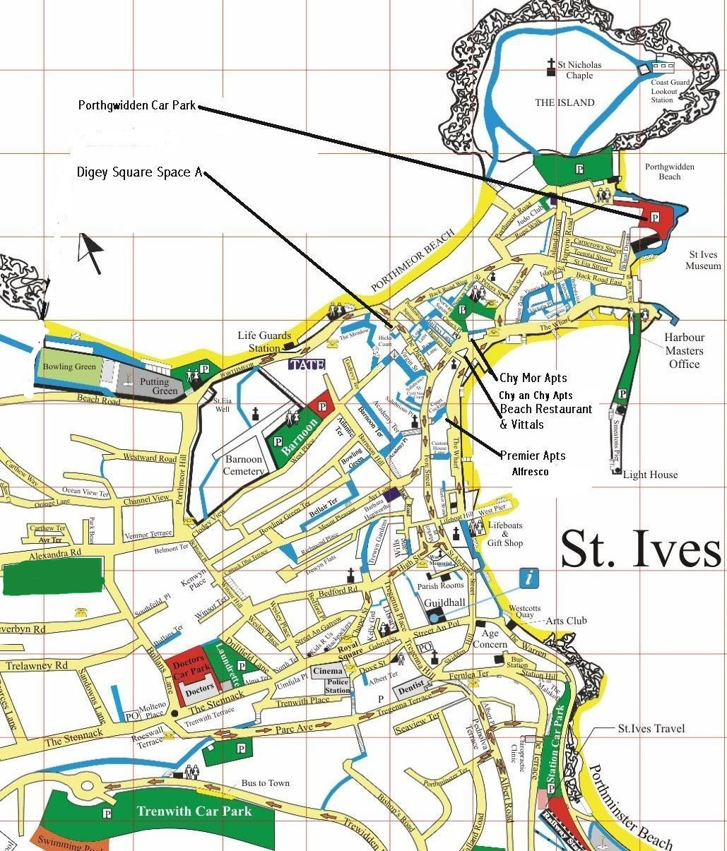 Map Of St Ives local map » Quality self catering accommodation and restaurants in
